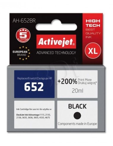 ActiveJet kartuša HP 652 F6V25AE črna...